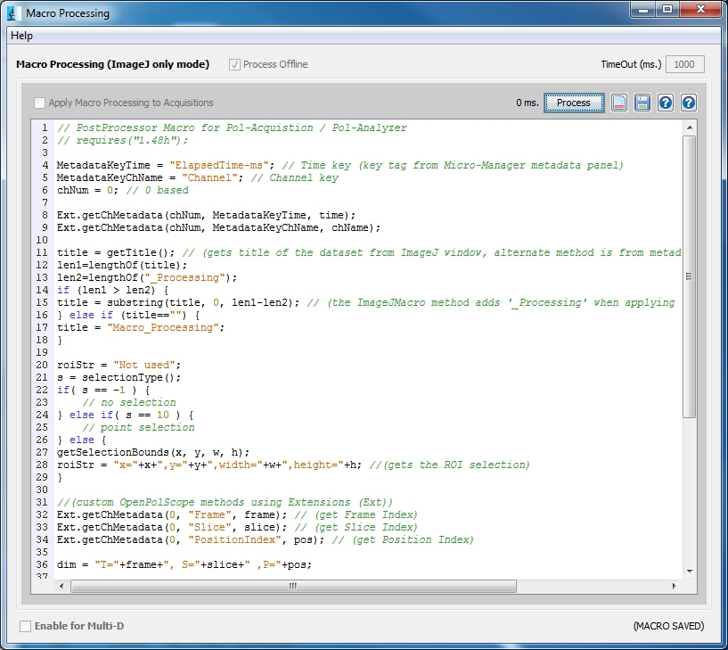 OpenPolScope: Macro Processing Plugin for Micro-Manager